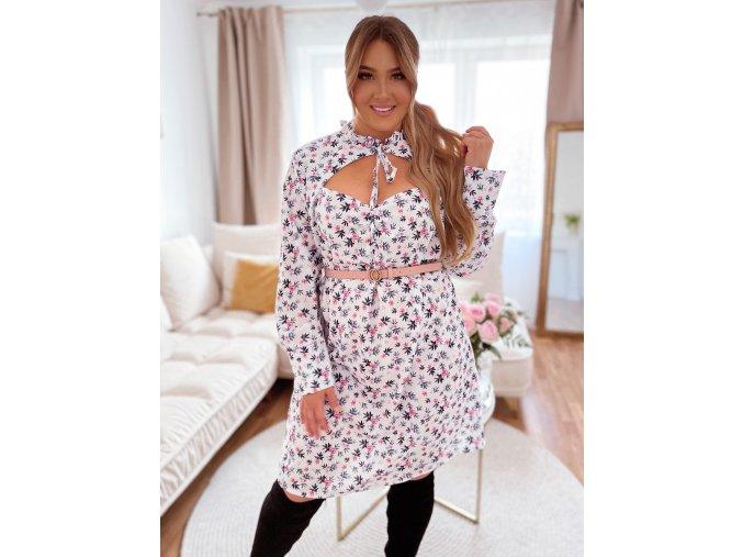 Bílé květinové šaty se srdíčkovým výstřihem (Veľkosť XL/XXL)