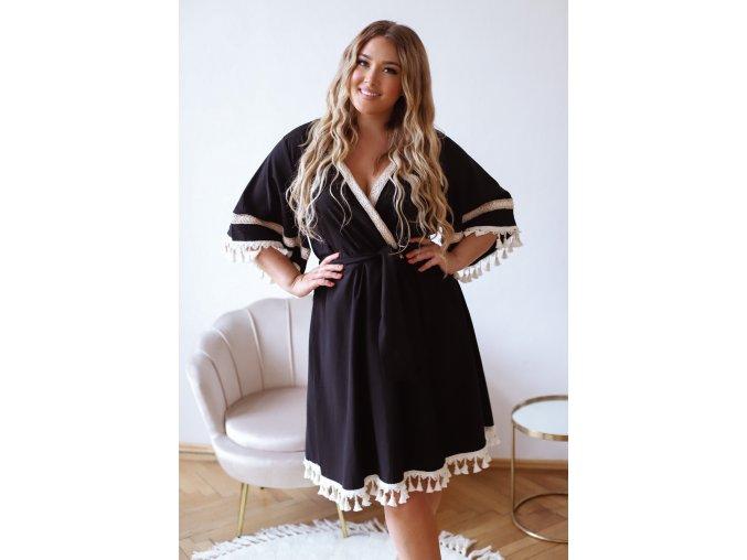 Černé šaty s krémovými třásněmi (Veľkosť XXXXL)