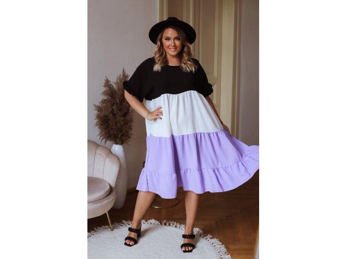 Volné šaty s krátkým rukávem - fialová (Veľkosť XL/XXL)