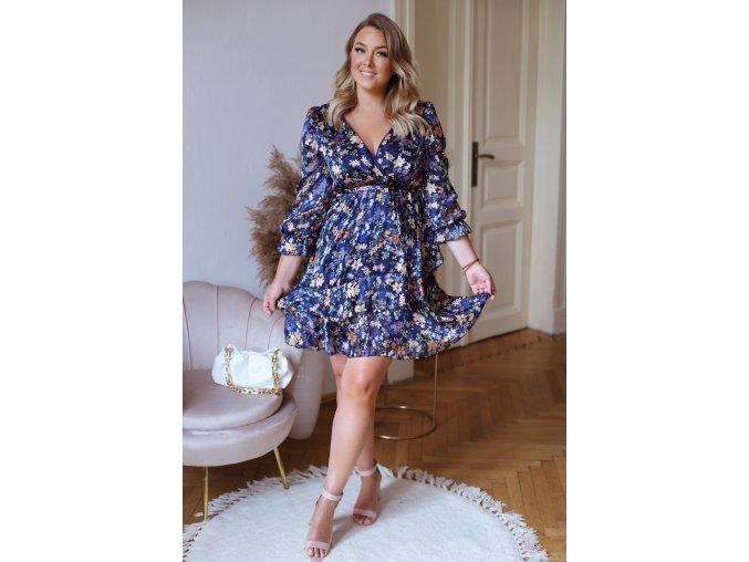Krátké květinové šaty v modré (Veľkosť XL/XXL)