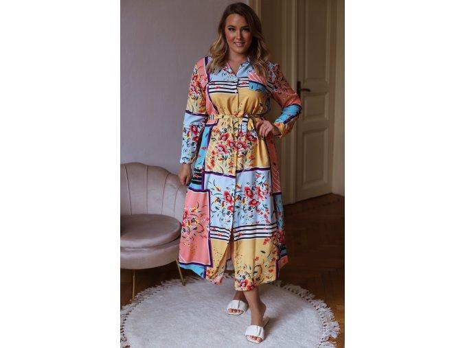 Dlouhé barevné vzorované košilové šaty (Veľkosť XL/XXL)