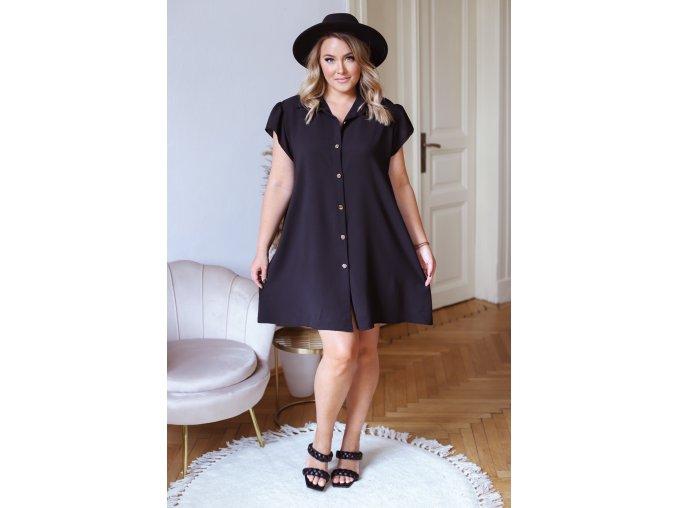 Mini košilové šaty s krátkým rukávem v černé (Veľkosť L/XL)