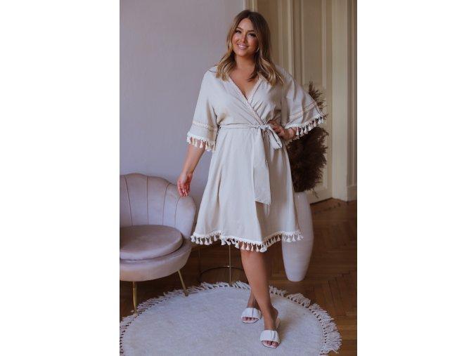 Šaty s třásněmi v krémové barvě (Veľkosť XXXXL)