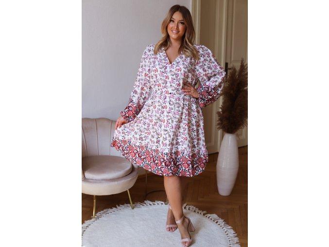 Bílo-růžové květinové šaty (Veľkosť XXXXL)