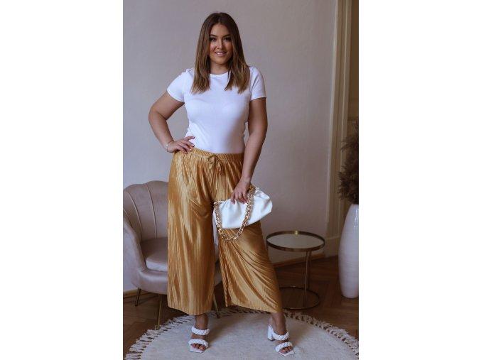 Široké plisované kalhoty s odleskem - hořčicově žlutá (Veľkosť L/XL)