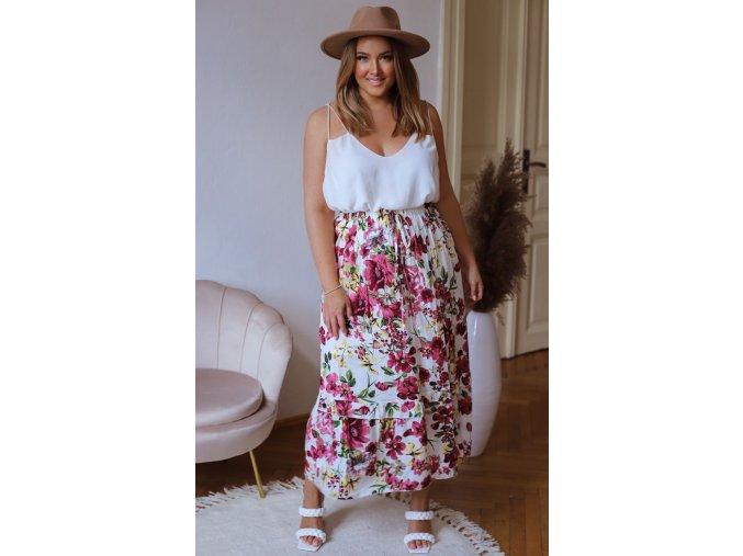 Dlouhá květinová sukně - bílá (Veľkosť XL/XXL)