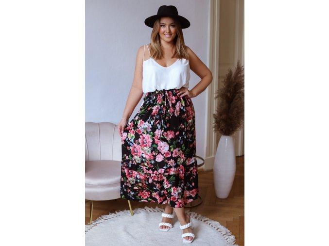 Dlouhá květinová sukně - černá (Veľkosť XL/XXL)