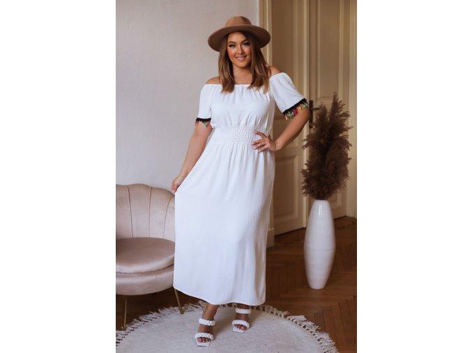 Dlouhé šaty s barevnými třásněmi - bílá (Veľkosť XL/XXL)