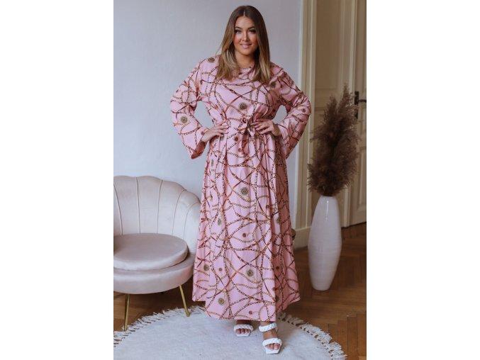 Dlouhé růžové šaty s dlouhým rukávem a páskem (Veľkosť L/XL)