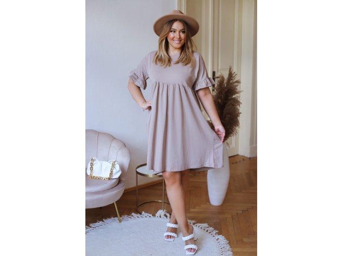 Volné bavlněné šaty s krátkým rukávem - béžová (Veľkosť XXXL)
