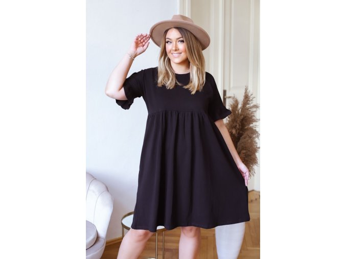Volné bavlněné šaty s krátkým rukávem - černá (Veľkosť XXXL)