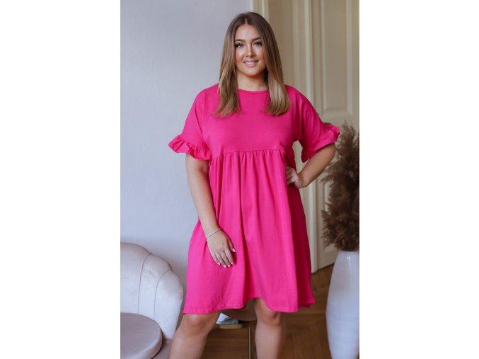 Volné bavlněné šaty s krátkým rukávem - růžová (Veľkosť XXXL)