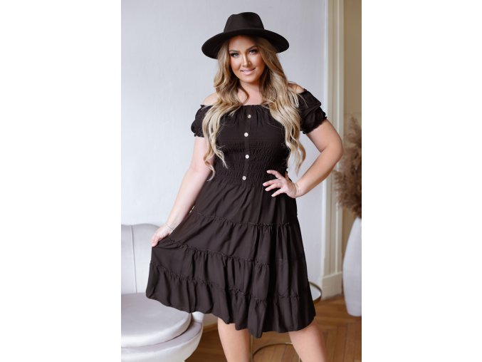 Šaty s odhalenými rameny v černé (Veľkosť XL/XXL)