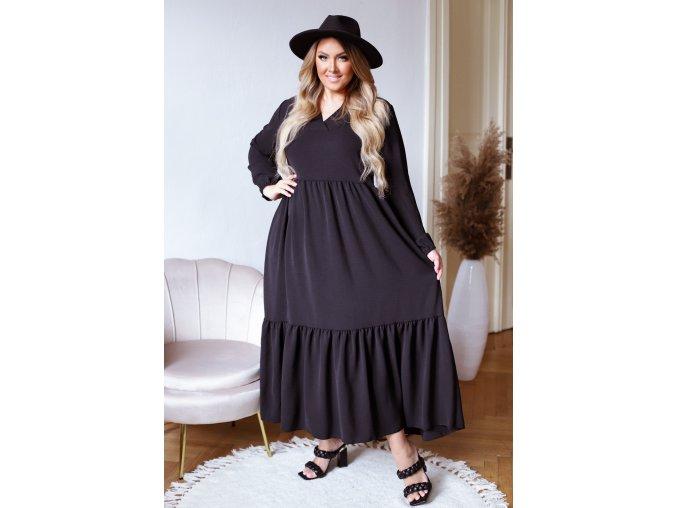 Dlouhé černé šaty s dlouhým rukávem (Veľkosť XL/XXL)