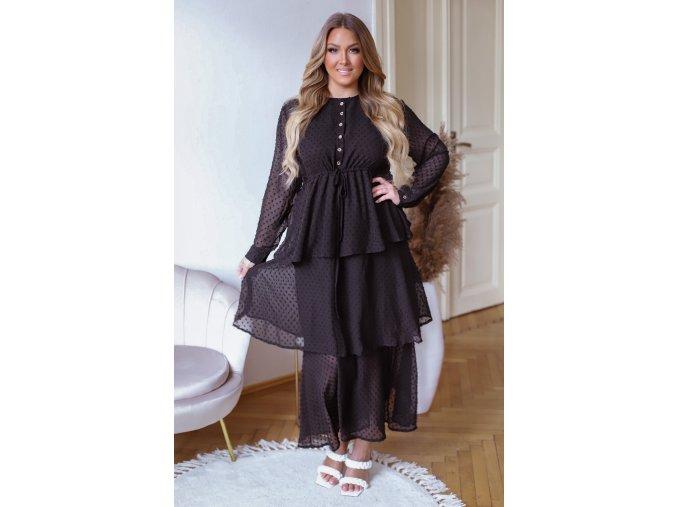 Puntíkované dlouhé šaty s volánovou sukní - černá (Veľkosť M/L)