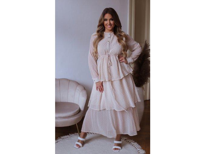 Puntíkované dlouhé šaty s volánovou sukní - krémová (Veľkosť M/L)