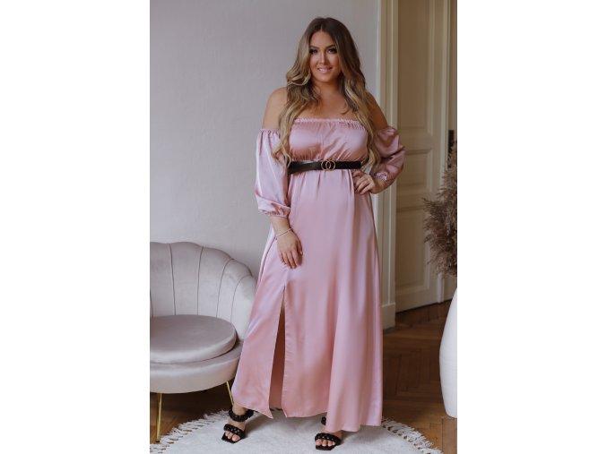 Dlouhé elegantní šaty se saténovým efektem a opaskem - růžová (Veľkosť L/XL)