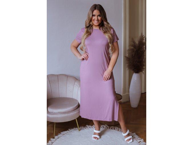 Midi tričkové šaty s krátký rukávem - bledě růžová (Veľkosť XXXXL)