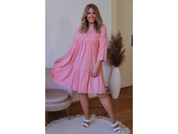 Volné bavlněné šaty s geometrickým vzorem - růžová (Veľkosť XL/XXL)