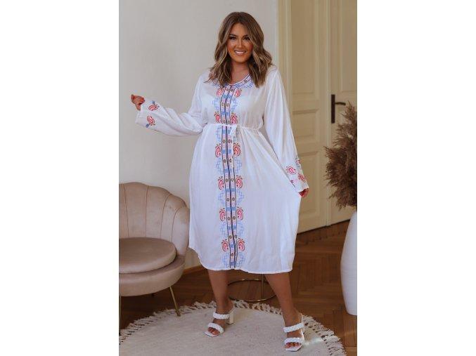 Letní šaty s barevnou výšivkou v bílé (Veľkosť XXXL)