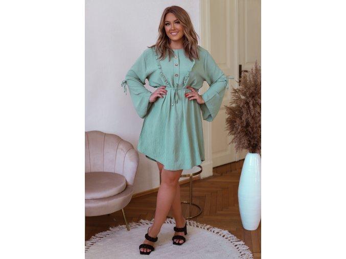 Světle zelené krátké šaty s dlouhým rukávem (Veľkosť XL/XXL)