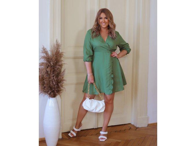 Zelené šaty s efektem zavinování (Veľkosť XXXXL)