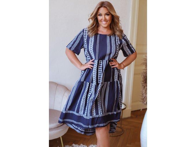 Bavlněné šaty s krátkým rukávem a vzorem - modrá (Veľkosť L/XL)