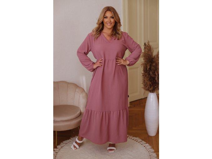 Dlouhé šaty s dlouhým rukávem - starorůžová