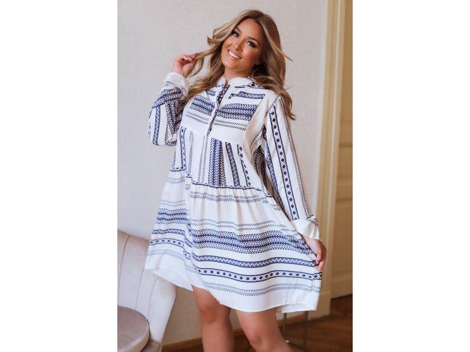 Krátké košilové šaty s dlouhým rukávem - modrá (Veľkosť XL/XXL)