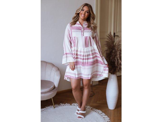 Krátké košilové šaty s dlouhým rukávem - růžová (Veľkosť XL/XXL)