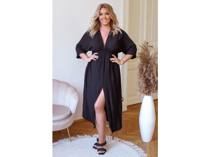 Dlouhé šaty s rozparkem v černé (Veľkosť L/XL)