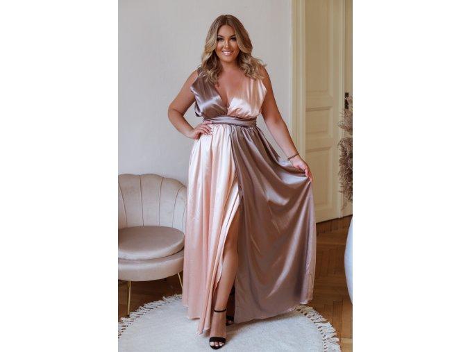 Dlouhé společenské šaty v broskvově hnědé (Veľkosť L/XL)