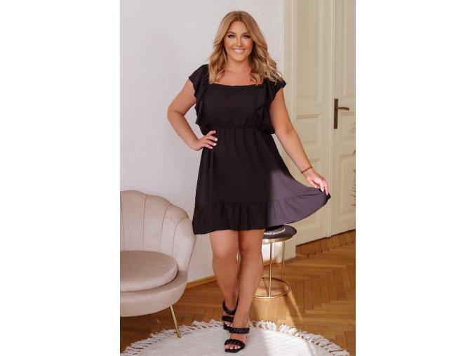 Krátké šaty s vázáním na zádech - černá (Veľkosť L/XL)