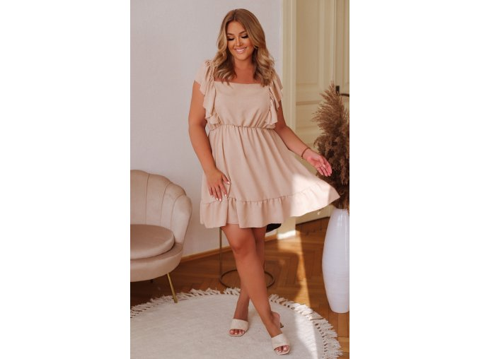 Krátké šaty s vázáním na zádech - béžová (Veľkosť L/XL)