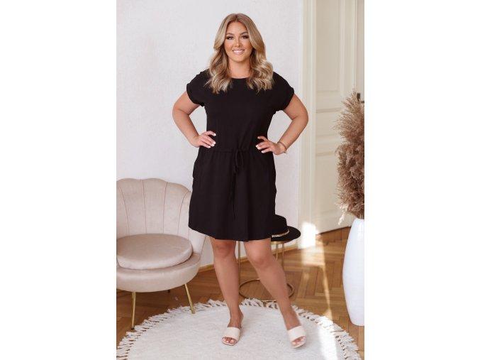 Bavlněné tričkové šaty s kapsami - černá (Veľkosť XXXL)