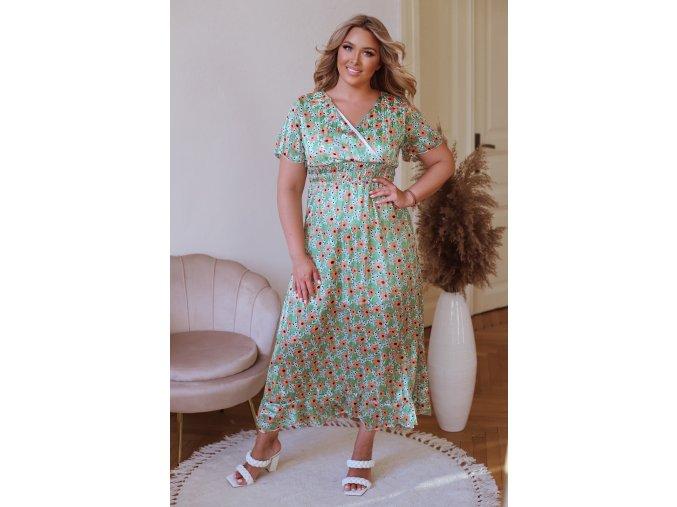 Dlouhé květinové šaty s krátkým rukávem - zelená (Veľkosť XL/XXL)