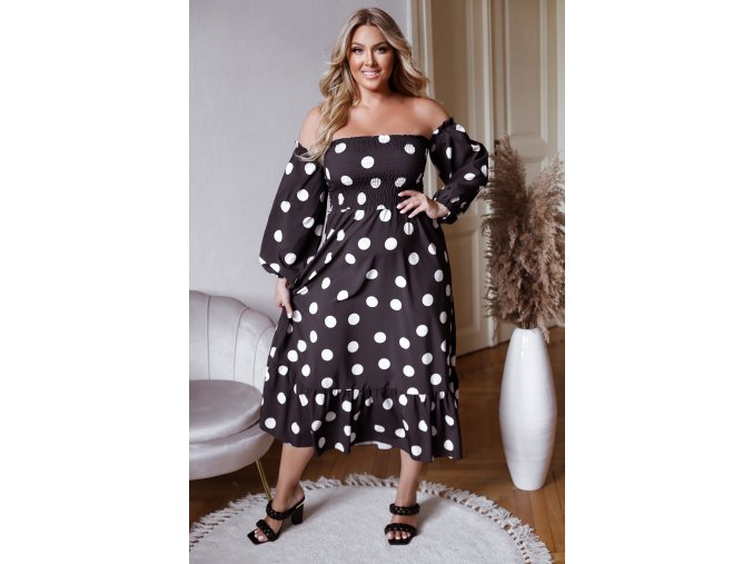 Černé puntíkované šaty s odhalenými rameny (Veľkosť L/XL)