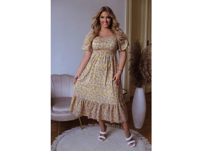 Žluté květinové šaty s krátkým rukávem (Veľkosť L/XL)