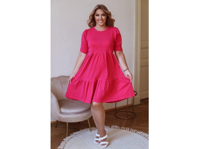 Krátké prošívané šaty s puffovými rukávy - cyklámenová (Veľkosť XL)