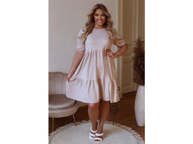 Krátké prošívané šaty s puffovými rukávy - béžová (Veľkosť XL)