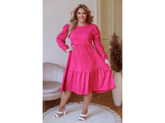 Cyklámenová prošívané šaty s dlouhým rukávem (Veľkosť XL)