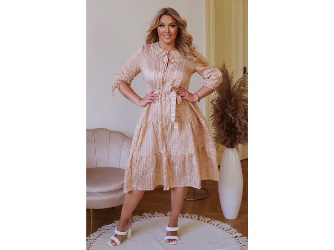 Dlouhé šaty s proužkovaným vzorem - béžová (Veľkosť L)