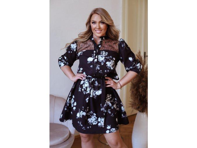 Černé krátké květinové šaty s krajkou (Veľkosť XL)