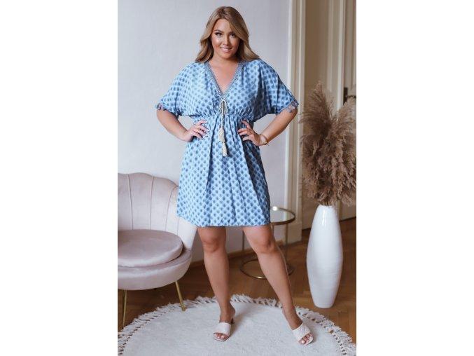 Krátké šaty s krátkým rukávem a třásněmi - modrá (Veľkosť L/XL)