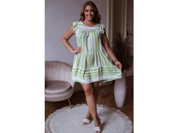 Krátké bílo zelené vzorované šaty (Veľkosť L/XL)