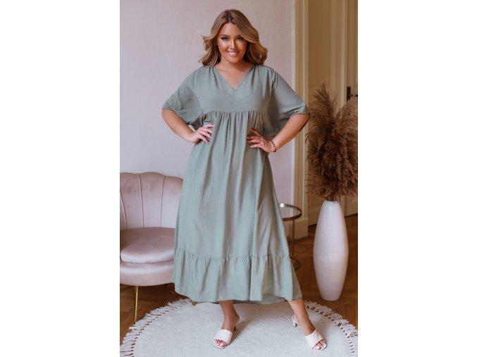 Volné šaty s krátkým rukávem v khaki barvě (Veľkosť XL/XXL)