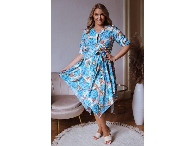Asymetrické šaty se vzorem hortenzií - tyrkysová (Veľkosť L/XL)