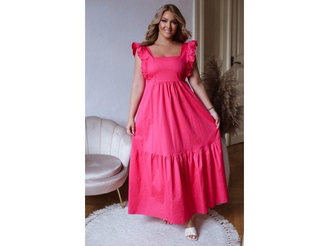 Fuchsiové šaty se zavazováním na zádech (Veľkosť L/XL)
