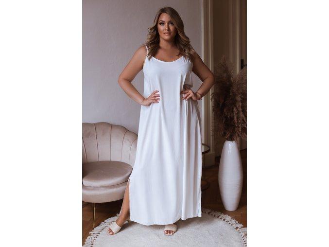 Dlouhé šaty na ramínka s rozparky na bocích - bílá (Veľkosť XL/XXL)