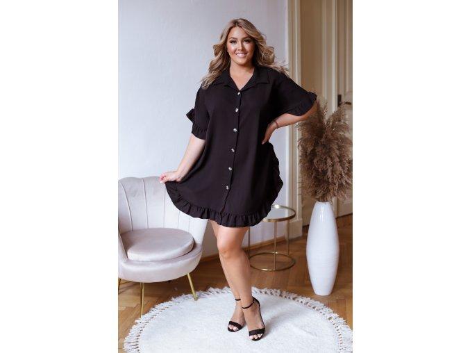 Krátká košile s řasením v černé (Veľkosť L/XL)
